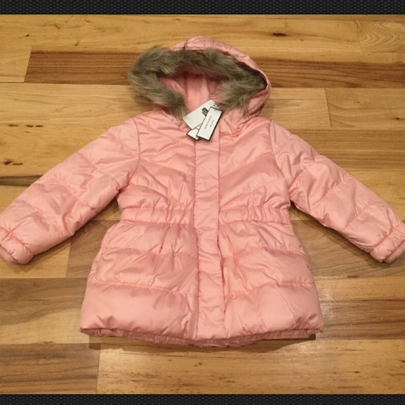 5df5fb21347b Baby Gap Girls Pink Winter Coat With Faux Fur Hood